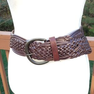 Banana Republic Brown Leather Woven Belt